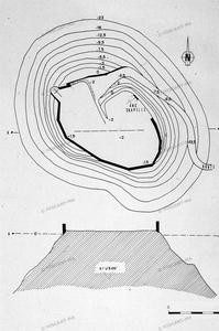 Plan topographique et coupe, château de Mousson
